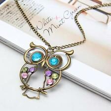 Fashion Girl's Vintage Crystal Pretty Owl Pendant Charms Long Necklace Jewelry