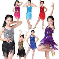 Girls Sequin Tassel Skirt Latin Salsa Ballet Tango Rumba Ballroom Dance Costumes