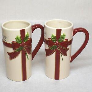 St. Nicholas Square Christmas Holly Jolly Tall Coffee Latte Mug 16 Oz Set of 2