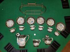 Hand Painted Betson Tea Set, Dragon, Japan 15 Pieces, with metal rack