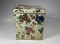 vintage Designed by Daher Long Island Metal Container  Tin England Flower Floral