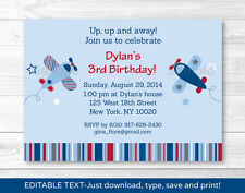 Airplane Birthday Invitation Blue and Red Printable Editable PDF
