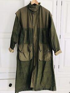 "Vintage L'esquimau Long Adjustable Wax Trench Coat Fishing Hunting 52"" Large"