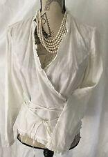 INC. 100% LINEN Wrap Around Shirt Blouse in White w Long Ties Sz 6 Long Sleeve