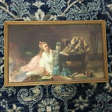 "Juegos Infantiles French Artist Francois-Eugene Cuny 1874 Repro Framed 21""x13"""