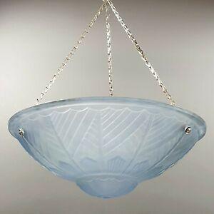 Vintage French Art Deco Blue Frosted Glass Flycatcher Pendant Lamp Moulded Light