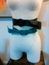 Vtg Lot 2 Black Turquoise Adjustable Slip Ring Buckle Women's Belts Leather
