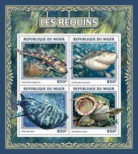 Niger 2016 MNH Sharks 4v M/S Great White Shark Wobbegong Marine Animals Stamps