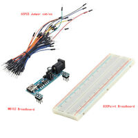 MB102 Power Supply Module 3.3V 5V& Jumper Wires Breadboard 830 Point top ASS