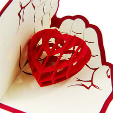 3D Pop Up Love in Hands Happy Anniversary Valentine Birthday  Greeting Cards