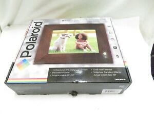 "Polaroid 8"" Digital Picture Frame w/Decorative Candlenut Distressed Wood Frame"