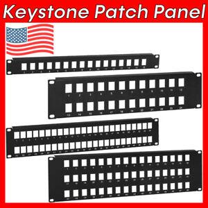 "1U 2U 3U Keystone Jack Patch Panel 19"" Blank Rack Mount Cat5e Cat6 RJ45 19 inch"