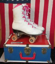 Vintage Chicago Womens White Leather Roller Skates Wood 87Sp Wheels w/ Case Sz.9