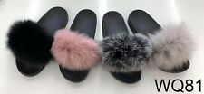 Womens Fur Fluffy Sliders Slippers Flip Flops Mules Cute Slip On Summer Shoes