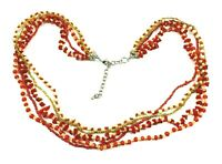 Vintage Faux Coral Imitation Pearl Seed Bead Necklace Multi Strand Torsade