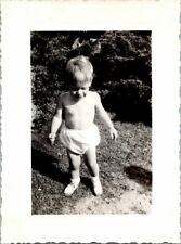 Young Blonde Boy in Diaper & Sneakers Posing in Yard FOUND B+W Photo 0213