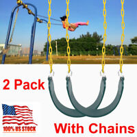 Heavy Duty Outdoor Hanging Swing Seat Set w/ Replacement Chains Play Kids 2 Pack