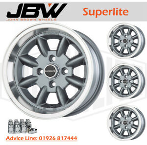 7x 13 Superlite Wheels Classic Ford Set of 4 Grey