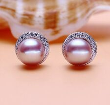 7mm Sterling Silver Freshwater Pearl Micro Pave Cubic Zirconia Stud Earrings J18