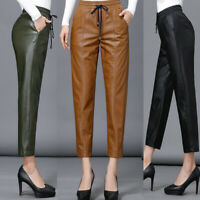2019 Womens OL Leather Slim Elastic Harem Trousers Party Pants Casual Fashion Sz
