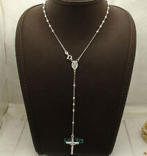 "3mm 24"" Diamond Cut Ball Bead Rosary Cross Chain Necklace Real Sterling Silver"