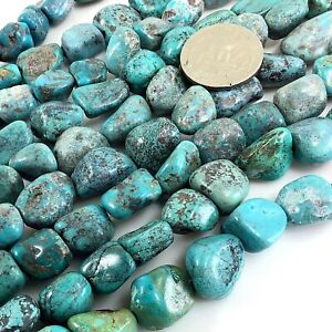 """Natural Genuine Turquoise Blue Rough Nugget Spacer Beads 12-16mm 15""""(TU775)d"""