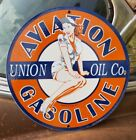 1959 UNION PORCELAIN SIGN OIL AIRPLANE AMERICAN DELTA SOUTHWEST UNITED PIN UP