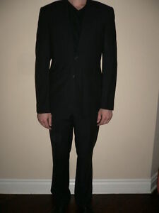 Giorgio Armani Men 2pcs Suit Jacket Pants Dressy Classic Black Wool Size 50R - M
