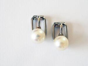 Sehr schöne Ohrclips; 925 Silber mit Perle