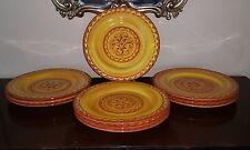 "Pier One 1 Karistan Hand Painted Orange Gold Round Platter 13"" Plates 10 Avail"