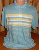 Mens XL Eddie Bauer Blue Yellow Striped Polo Shirt 100% Cotton Short Sleeve