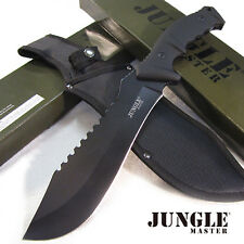 """Jungle Master Monster Hunter - 15"""" Tactical Bowie Hunting Knife w/Sheath - Black"""