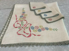 Embroidered Natural Linen Tablecloth 4 Napkin Set Vtg 1950s Handmade Estate