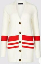 M & S Collection Cardigan Cotton Blend Striped Longline White Red Bnwt Size L