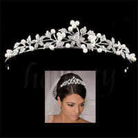 Bridal Tiara Flower Rhinestone Crystal Crown Hairband Pearl Hair Comb Wedding UK