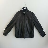 Men's Calvin Klein Black Soft Lambskin Leather Jacket Sz Large L Bomber Classic