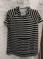 Lane Bryant LIVI Active Short Sleeve Tunic hooded Black/White Stripe sz 14/16