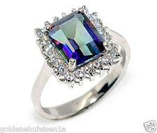 Eleganter Mystic Quartz Ring 925 Echt Silber + Rhodoniert Damen Geschenkidee