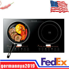 110V 2400W Double Burner Cooktop Electric Dual Induction Cooker Hot Plate Cooker