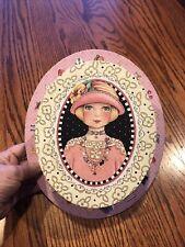 Vintage Mary Engelbreit Hat Box Pink Blonde Flapper Necklace Design