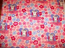 Angelina Ballerina Fleece Fabric Pack Flowers Pink BTY