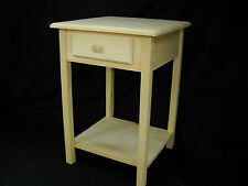 unfinished Pine End Table Night Stand Entry Table w/Beveled Edge and shelf