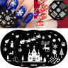 Christmas Snow Santa Nail Stamp Nails Art Stamping Plates Reindeer Sleigh Trees