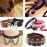 Punk Gothic Wide PU Leather O Ring  Spike Rivet Collar Choker Necklace Women