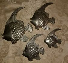 VINTAGE Solid Brass TROPICAL ANGEL FISH Wall PLAQUES~Set of 4~Wall Decor