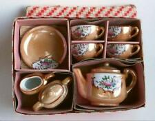 11 Pc Vintage Childs Toy Tea Set Pink Roses On Peach Luster Original Box Japan