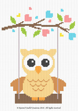 Crochet Patterns - OWL ON A SWING - GENDER NEUTRAL Baby Graph/Chart Pattern