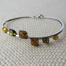 Genuine Multi-Color BALTIC AMBER Bangle in solid 925 STERLING SILVER #0057