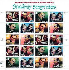 SCOTT #3345-50  SOUVENIR SHEET  BROADWAY  SONGWRITERS  33 CENT   MNH