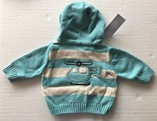 NWT Gymboree Tiny Copter 0-3 Months Blue Striped Helicopter Hoodie Zip Cardigan